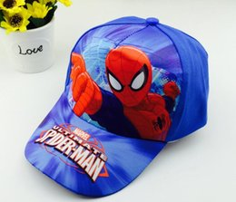 Wholesale cartoon baseballs - Kids Spiderman Trolls Hats Caps NEW children Ball cap Boys girls Cartoon Princess baseball Hat H007