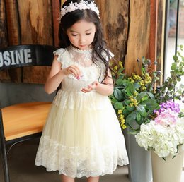 Wholesale Cotton Sundresses Long - 2017 New Girl Princess Dress Lace Fluffy Tulle Sleeveless Long Length Party Sundress Children Clothing X105