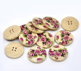 Wholesale Wood Toy Patterns - Wholesale Acces 30mm-30pcs Color Green Peony Flower Pattern four round wooden button Hotsale beauty button buttons toys wood button jewelry