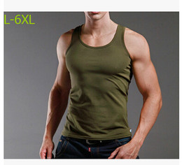 Wholesale Thin Modal Tops - Wholesale- 2017 summer men wide vest thin modal undershirts male tight tank tops plus size L- 5XL 6XL white army green 6colors
