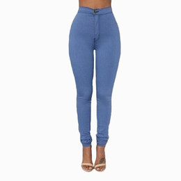 Wholesale High Waist Woman Stretch Jeans - 2017 New Arrival Slim Jeans For Women Skinny High Waist Candy Color Denim Pencil Pants Stretch Waist Black Party Work Pants