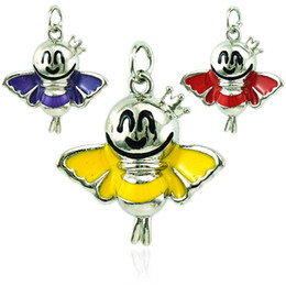 Wholesale Large Butterfly Pendant - Wholesale Fashion Animal Charms Silver Plated Enamel Large Butterfly Pendants DIY Charms For Jewelry Making Accessories