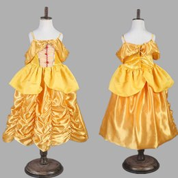 Wholesale Girls Pageant Costumes - Children Cosplay Princess Dresses Belle Gauze Lace Sleeping Beauty Dress New 2017 Girls Party Pageant Ball Easter Costume Dress Gifts PX-A20