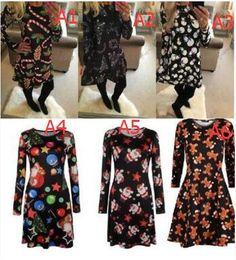 Wholesale Mini Flower Gift - Women Xmas Dress Long Sleeve Santa Claus Dresses Gift Christmas Xmas Flared Dress for Women girls swing Casual Mini Dress