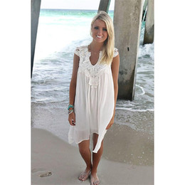 Wholesale Womens Clothing Dress White - Boho Style Women Lace Dress Summer Loose Casual Beach Mini Swing Dress one piece playsuits Chiffon Bikini Cover Up Womens Clothing Sun Dress