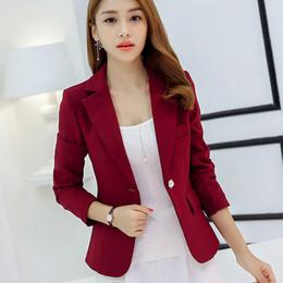 Wholesale Women Working Suits Design - Women Suit Jackets Work Office Outwear Top Blazer Summer Short Design Long Sleeve Blazer Feminino Wine Red Navy blue Gray
