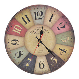 Wholesale Mdf Decorations - France Paris Antiqued Quartz MDF Wooden Clock 10'inch Home Decoration Big Wall Clock Artistic Silent Retro Creative European Style Round