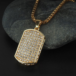 Wholesale Dog Zodiac Pendant - Dog Tag Mens Hip Hop Chain Fashion Jewelry Full Rhinestone Pendant Necklaces Gold Filled Hiphop Zodiac Jewelry Men Cuban Chain Necklace