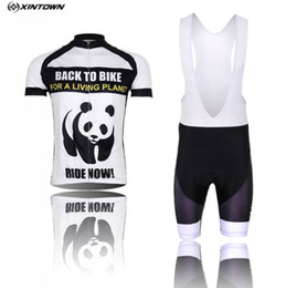 Wholesale Panda Cycling Top - XINTOWN Cycling Jersey Bib shorts White Men Bike Clothing Panda Pro MTB Bicycle Top Cycling Wear Shirts for summer