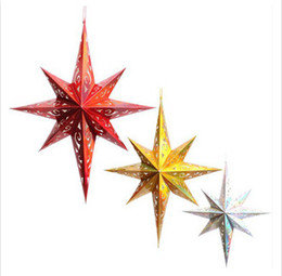 Wholesale Star Lanterns Wholesale - Paperboard Three Dimension Eight-Pointed Star Shaped Lampshade Decorative Accessories For Navidad Hotel Party Hanging Lantern