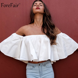 Wholesale Loose Fit Blouse - Wholesale- ForeFair trendy white ruffles off shoulder crop tops cotton flare sleeve girls sexy tops plus size loose-fit women shirt blouse