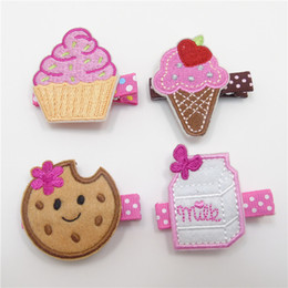 Wholesale Ice Cream Clips - 10pcs  Lot Embroiderred Food Fashion Hair Clips No Slide Velour Milk Box Hairpin Biscuit Cake Cone Ice Cream Princess Girls Barrettes