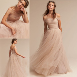 Wholesale Tulle Color Chart - Nude 2017 BHLDN Wedding Dresses Off The Shoulder Delicate Sash Bridal Gowns Floor Length A Line Backless Wedding Gown