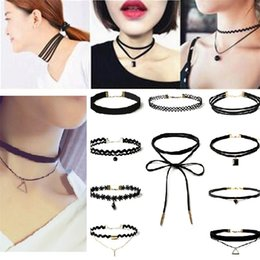 Wholesale Tattoos Sexy Woman - 10pcs Set Fashion Chokers Necklace For Women Sexy Black Stretch Lace Velvet Gothic Punk Tattoo Necklaces minimalist Jewelry CollarNecklace
