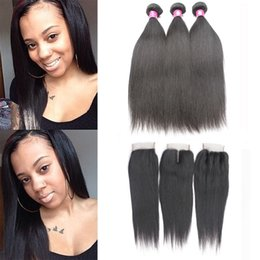 Wholesale Peruvian Straight Closure Piece - 7A Brazilian Straight Virgin Hair Bundles With Lace Closure Unprocessed Peruvian Natural Black Human Hair Extensions Weave With Closure