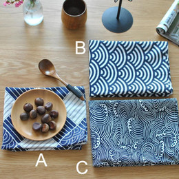 Wholesale Navy Napkins - BZ800 table mats Tableware mats Pads Western Nordic napkin plaid fabrics linen table mat placemat Japanese style navy blue