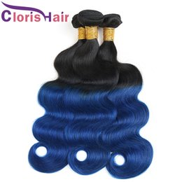 Wholesale Colored Brazilian Hair Weave - Dark Roots 1B Blue Ombre Weave Wet And Wavy Raw Indian Virgin Human Hair Bundles Body Wave Two Tone Colored Remy Hair Extensions