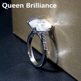 Wholesale 585 Ring - Queen Brilliance 5ct F Color Cushion Cut Lab Grown Moissanite Engagement Ring Wedding Ring Genuine 14K 585 White Gold for Women q171026