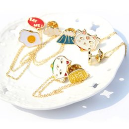 Wholesale Blouse Cats Women - Wholesale- Japan Harajuku Enamel Brooch Flower Fortune Cat Fujiyama Egg Cloud Blouse Lapel Pin Women Fashion Jewelry 2016