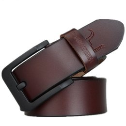 Wholesale Buckle Jeans For Men - male belt for mens high quality cow genuine leather belts 2017 hot sale strap fashion new jeans Black Buckle XF010