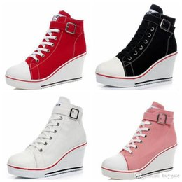 Wholesale Thick Sole Platform Boots - Fashion Women Platform Wedges Muffin 8cm Height Increased Thick Soled Elevator Canvas Zippers Shoes Woman Hidden Boots Lady Casual Heels