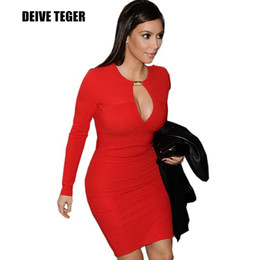 Wholesale Dresse Women - FEIBUSHI Free shipping New Fashion Women Optical Illusion slimming Stretch Long Sleeve Business Pencil Bodycon Sheath Work dresse