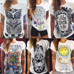 Wholesale Retro Style Clothing Wholesale - 20pcs 7 Style New Fashion Women T Shirts Short Sleeve Womens Printed Letters T-Shirts Female Retro Graffiti Flower Tops Tee Clothing ZL3229