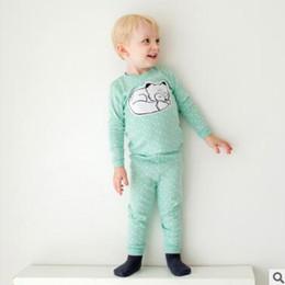 Wholesale Fox Pajamas - Children pajamas outfits Baby girls boys cotton cartoon fox tops+triangle printed pants 2pcs Leisure Autumn Winter Kids clothing C2396