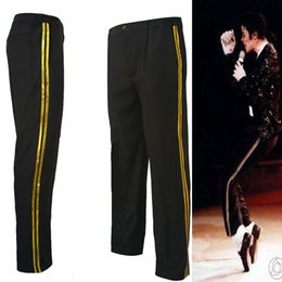 Wholesale Pleated Pants Cropped - Wholesale- MJ Michael Jackson Black Billie Jean Entertainers Straight Golden trousers Casual cropped jeans Elasticity Ankle-Length pants