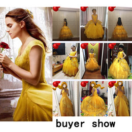 Wholesale belle yellow - Movie Emma Watson's Beauty and the Beast Belle Princess Yellow Cosplay Prom Dress Adults and Kids Formal Dresses Mother and Child Dress