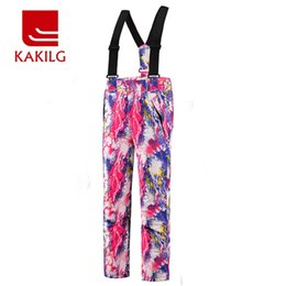 Wholesale Girls Warm Trousers - Wholesale- Boys Ski Pants Girls Waterproof Skiing Pants Breathable Windproof Winter Warm Trousers Outdoor Snowboarding Full Length KL7066