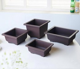 Wholesale 12PCS PACK Hot Sale RetroStyle Basin Plastic Flower Pot Balcony Square Flower Bonsai Plant Bowl Nursery Pots Basin Maceta Cuadrada