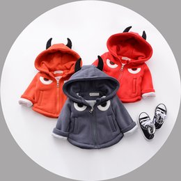 Wholesale Korean Sweater Warm - 3 color Hot selling Korean style the small devil embroidery cardigan sweater thickening in children coat 100% cotton autumn winter warm coat