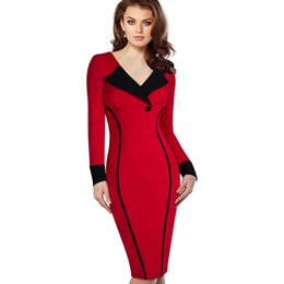 Wholesale Long Sleeve Colorblock Dress - Wholesale- Professional Women Autumn Casual Work Business Office Colorblock Contrasting Long Sleeved Fitted Bodycon Pencil Dress EB355