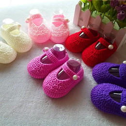Wholesale Crochet Baby Shoes Free - Hot Sale Crochet Baby boy Sandals,Summer Handmade Crochet Baby Shoes size 0-12M Many Color Free Shipping