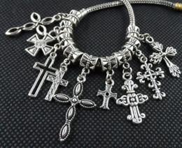 Wholesale European Dangle Beads - 100PCS mixed Tibetan Silver alloy Cross Charms Pendant Dangle Beads Fit European Jewelry Making Bracelet