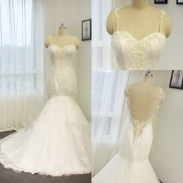 Wholesale Real Muslim Necklaces - Glamorous Lace Mermaid Wedding Dresses Sexy Sweetheart Backless Aradal Bridal Gowns Pearls Plus Size Beach Wedding Dresses Free Necklace