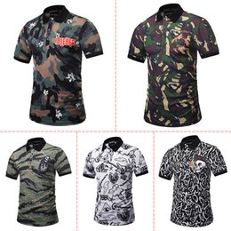 Wholesale Camouflage Graphics - New Designed Camouflage POLO Shirts Men Summer Tops 3d Shirts Print Skulls Graphic 3d Polo Shirts free shipping