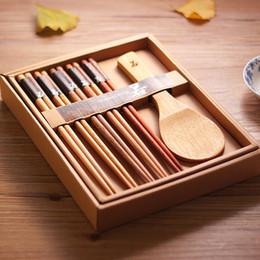 Wholesale Japanese Painting Set - Wholesale- Japanese style natural logs of wood chopsticks ladle set paint wax wood gift box set