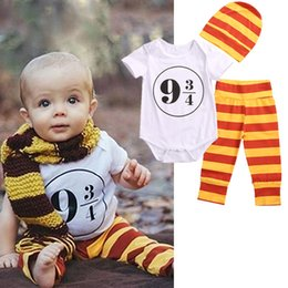 Wholesale Hat Romper Costumes - 2017 fashion math geek baby suits 3pcs kids Girl Boy Harry Potter Costume Outfits 0-18M short sleeve white Romper+ pants Leggings+Hat Sets
