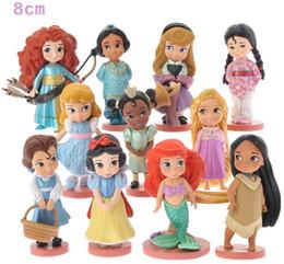 Wholesale Mermaid Figures - 11pcs Moana Snow White Merida Princess Action Figures Mulan Mermaid Tiana Jasmine Dolls Toys Anime Figurines Best Gift For Kids