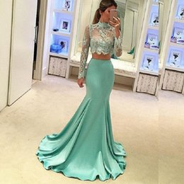 Wholesale Mint Mermaid Tulle Prom Dress - Mint Green Satin 2 Piece Prom Dresses Long Sleeve Mermaid Style High Quality Sheer Lace Special Occasion Party Evening Dress Robe De Soiree