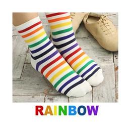 Wholesale Korean Over Knee Boots - (M042) 2016 new Spring - Winter women's socks,korean colorful striped boot sock,rainbow sock for women,6 pairs lot,free shipping