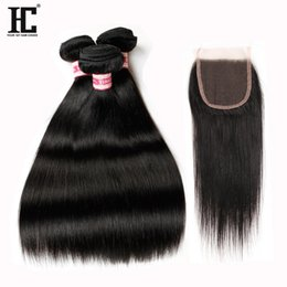 Wholesale Cheap Natural Hair Products - HC Products Malaysian Straight Virgin Hair 3 Bundles With Closure Human Hair With Closure Cheap Straight Hair With Closure Unprocessed