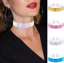 Wholesale Leather Collar Choker - 2017 Fashion Cool Handmade Plain Basic Laser Choker Buckle Collar Thin PU Leather Holographic Necklace For Women aa321