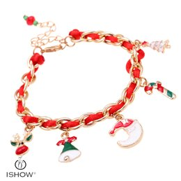 Wholesale China Deer - Christmas pendant gift red bracelet for Lady santa claus tree deer moon charm bracelets & bangles jewelry