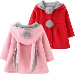 Wholesale Baby Winter Warm Coats - Cute Rabbit Ear Hooded Girls Coat New Spring Top Autumn Winter Warm Kids Jacket Outerwear Children Clothing Baby Tops Girl Coats