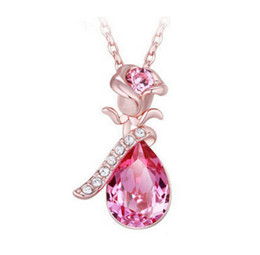 angel girl pendant Promo Codes - Austria Crystal Pendant Necklace Rose Angel Tears Bow Water Drop Pendant Necklaces Cheap Jewelry Wedding Gift for Women Girl