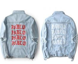 Wholesale Mens Cotton Washed Jackets - New autumn pablo jackets kanye west Mens hip hop cotton washed ripped denim jeans jacket with hole on the arm palace jacket