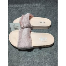 Wholesale Warm House Slippers Women - Rihanna Fur Leadcat Fenty Slides Women Men Slippers House Winter Slipper Home Shoes Woman Warm Slippers Chinela womens sandals